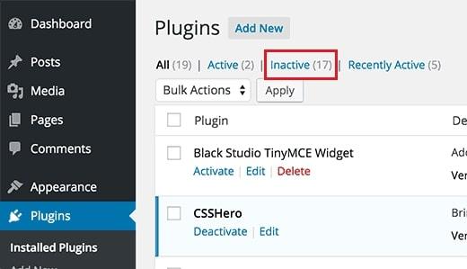 Xóa các plugins/theme không cần thiết